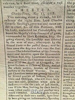 Newspaper 1768 Boston Mohawk Cherokee Native American early US