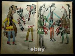 ORIGINAL Indian School Drawin in Grammer Book. Late 1800s early 1900s