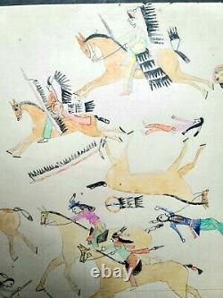 ORIGINAL LEDGER DRAWING. Indian Calvary Battel. Early 1900s