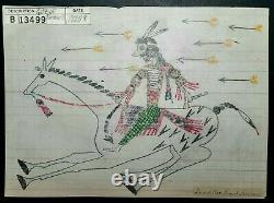 ORIGINAL LEDGER DRAWING. Indian on horseback. Early 1900s