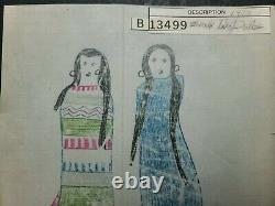 ORIGINAL LEDGER DRAWING. Two Sioux Dolls. Early 1900s
