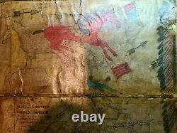 ORIGINAL LEDGER Drawings on old Civil War map book pages. EARLY 1900s