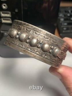 Old Pawn 1930's Early Navajo Ingot Silver Applique Bead Stamped Cuff Bracelet