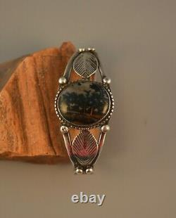 Old Pawn Early Hanstamped Navajo Indian Bracelet Picture Agate Stone 6 1/2