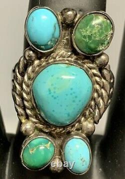 Old Pawn Early Navajo C. 1930-50 Sleeping Beauty & Royston Sterling Ring Size 11