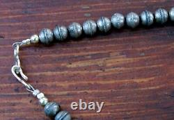 Old Pawn Navajo Sterling Silver Bench Beads Necklace With Early 1900's Coins