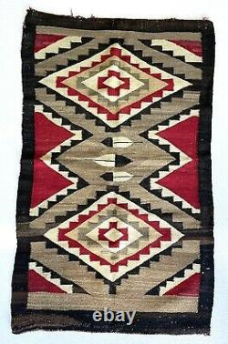 Old early Navajo rug, 44.5x26blanket Native American colorful textile, weaving