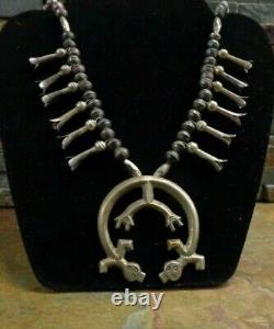 Omg! Early Navajo Yei Kachina Sterling Squash Blossom Necklace Native Old Pawn