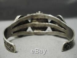 One Of Best Early 1900's Vintage Navajo Ingot Silver Petrified Wood Bracelet