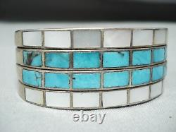 One Of Best Early Small Wrist Vintage Zuni Turquoise Sterling Silver Bracelet