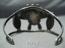 One Of The Best Early Vintage Zuni Turquoise Sterling Silver Bracelet Old