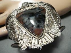 Opulent Early Vintage Navajo Petrified Wood Sterling Silver Thunderbird Bracelet