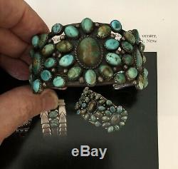 Published Early Navajo Turquoise and Silver Cluster Bracelet, 1930's