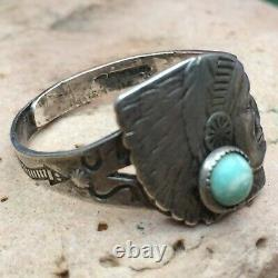RARE EARLY 1930s FRED HARVEY ERA NATIVE AMERICAN TURQUOISE STERLING CHIEF RING