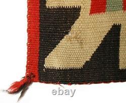 RARE EARLY 20TH C NAVAJO NAT AM SM 18x18 RED/SEPIA/CREAM/GRN HND WVN WOOL RUG