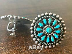 RARE Old Pawn Early Navajo Handmade Sterling & Turquoise Cluster Earrings