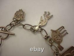 RAY TRACEY KNIFEWING Navajo 10 Charm Bracelet Sterling Silver Vtg 1980's Early