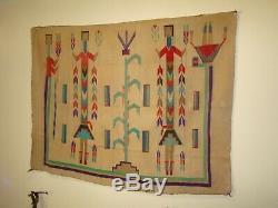 Rare Antique Navajo Sandpainting Yei Rug, Native American Early Weaving 44X56