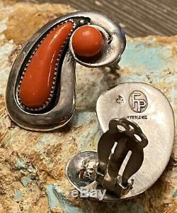 Rare EARLY 1950s FRANK PATANIA SR Handmade Large Sterling Gem Red Coral Earrings