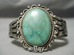 Rare Early 1900's Vintage Navajo Carico Lake Turquoise Sterling Silver Bracelet