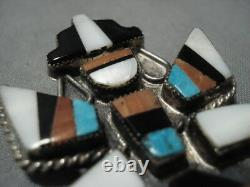 Rare Early 1900's Vintage Zuni Turquoise Coral Sterling Silver Pin Old