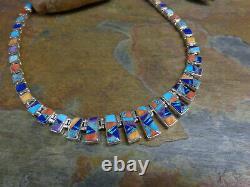 Rare Early Calvin Begay Navajo Sterling Multi Gem Dangle Necklace Squash Blossom