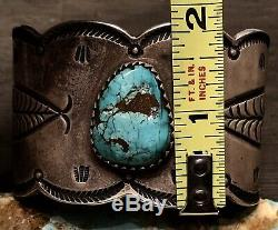 Rare Early Hand Wrought Ingot Coin Silver Gem Turquoise Cuff Bracelet 121G Sign