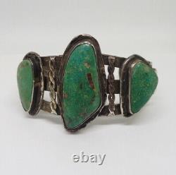 Rare Early Navajo Ingot Harvey Era Silver Green Turquoise Cuff Bracelet Old Pawn