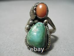 Rare Early Vintage Navajo Green Turquoise Coral Sterling Silver Leaf Ring