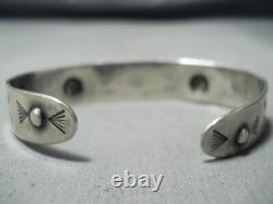 Rare Early Vintage Navajo Whirling Logs Sterling Silver Bracelet