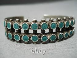 Rare Early Vintage Zuni Navajo Green Turquoise Snake Sterling Silver Bracelet