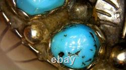 Rare early Julian Arviso Navijo ring Turquoise & Sterling silver size 9 old pawn