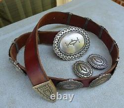 Ray Tracey Knifewing Segura Sterling Silver Early Concho Belt Near MINT WOW