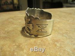 SCARCE EARLY Fred Harvey Era NAVAJO Silver APPLIED THUNDERBIRD Design Bracelet