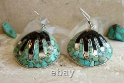 Santo Domingo/Kewa Rare EARLY MARY LOVATO Mosaic'HEALING HANDS' Shell Earrings