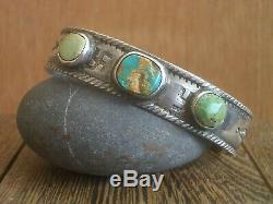 Scarce Pair Early Southwest Indian Silver Turquoise Bracelets navajo ingot pawn