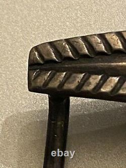 Super early navajo belt buckle nice chiseling stamps small silver EX Jay Evetts
