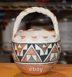 Superb Vintage Handcoiled Acoma Pueblo Basket! MID To Early 1900's/free Shipping