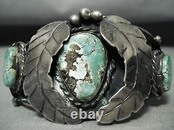 Thicker Early Vintage Navajo Royston Turquoise Sterling Silver Bracelet