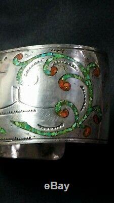 Tommy Singer Navajo Cuff Bracelet Early Signed Storyteller Turquoise Coral Inlay