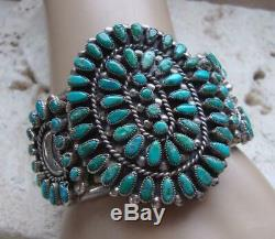 VALENTINO & MATILDA BANTEAH ZUNI Early STERLING TURQUOISE CLUSTER Cuff Bracelet