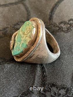 VINTAGE Single Turquoise Snake Ring EFFIE CALAVAZA Early Work Unsigned Size 9