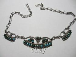 Very Early Beautiful Vintage Signed Zuni Sterling & Turquoise Necklace-no Res