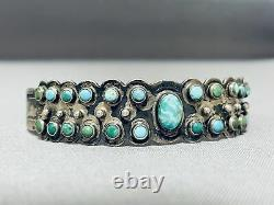 Very Early Old Vintage Navajo Snake Eyes Turquoise Sterling Silver Bracelet
