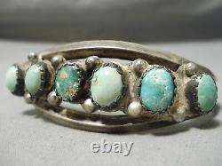 Very Early Vintage Navajo Cerrillos Turquoise Sterling Silver Bracelet Old