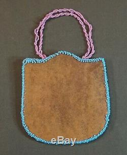 Very Fine Early 1900 Native American Columbia River Contour Beaded Bag Purse