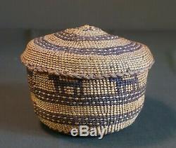 Very Fine Early 1900 Native American Northwest Skokomish Lidded Pictorial Basket