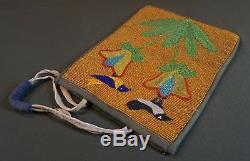 Very Fine Early 1900 Native American Plateau Beaded Bag 2 Birds on Flowers