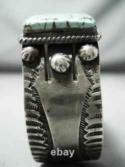 Very Rare Early Deposit #8 Turquoise Vintage Navajo Sterling Silver Bracelet