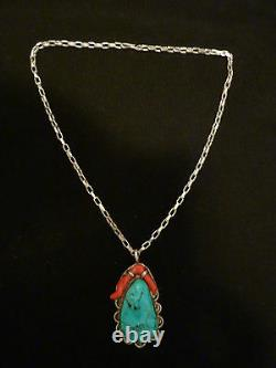 Very Rare Vintage Thomas Singer Early Hallmark Turquoise/coral Necklace